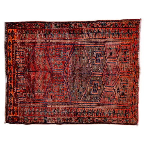 "4'9""x6'2"" Persian Hamadan Rug, Crimson/Orange"