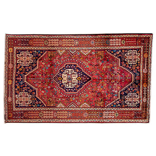 "5'6""x8'8"" Persian Shiraz Rug, Blush/Navy"