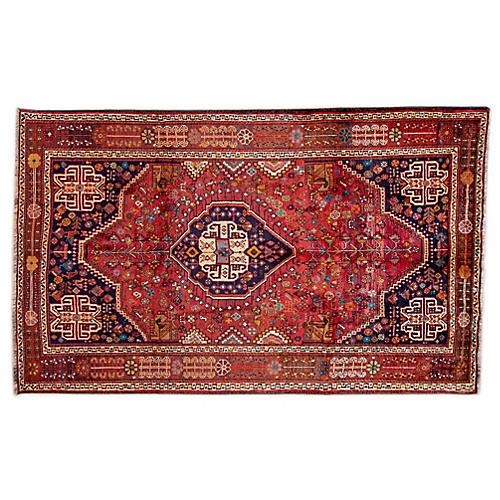 """5'6""""x8'8"""" Persian Shiraz Rug, Blush/Navy"""