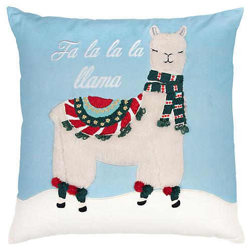 Fa La La La Llama 20x20 Pillow, Light Blue/Multi