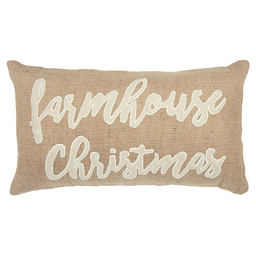Farmhouse Christmas 14x20 Pillow, Natural