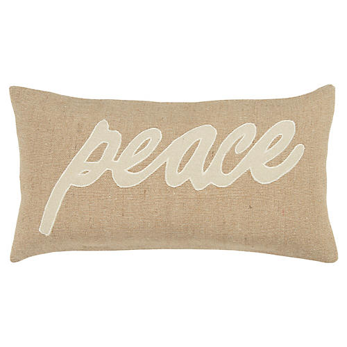 Peace 11x21 Holiday Lumbar Pillow, Natural/White