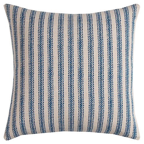 Blythe 17x17 Striped Pillow, Natural/Blue