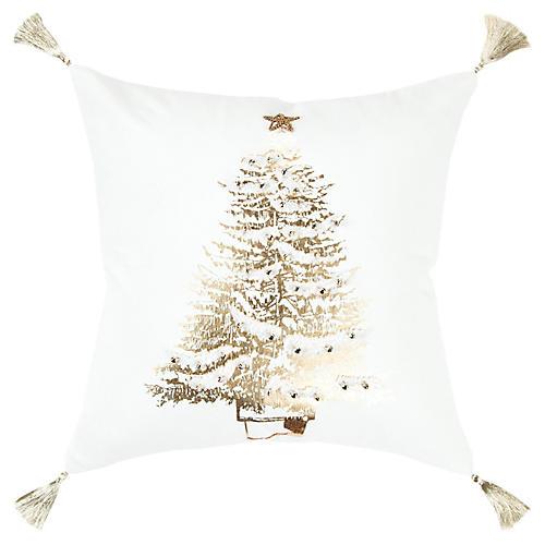 Christmas Pine 20x20 Pillow, Cream