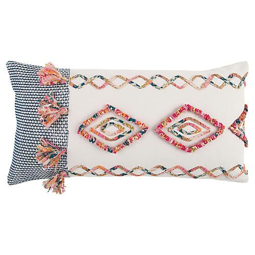 Lulu 14x26 Lumbar Pillow, Pink/Multi