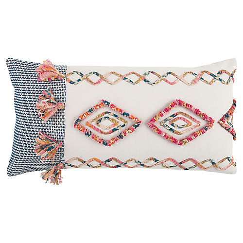 Lulu 14x26 Lumbar Pillow, Pink/Multi