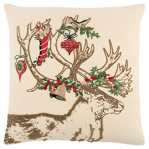 Blitzen 20x20 Holiday Pillow, Ivory/Red