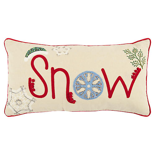 Snow 11x21 Holiday Lumbar Pillow, Red/Multi