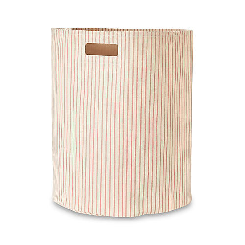 Stripes Away Hamper, Petal/White