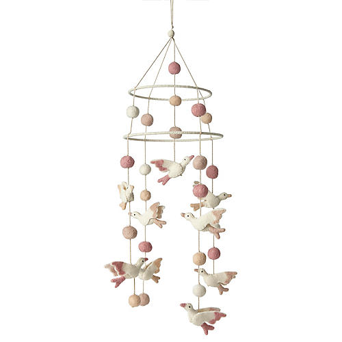 Birds of a Feather Mobile, Cream/Blush