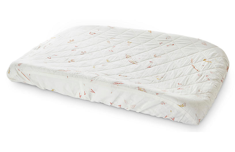 Birds of a Feather Change Pad Cover, White/Multi