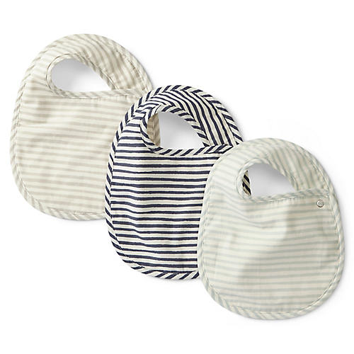 Asst. of 3 Stripes Away Bibs, Sea/Multi