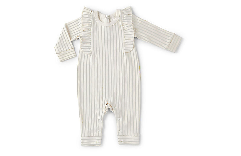 Stripes Away Ruffle Romper, Pebble