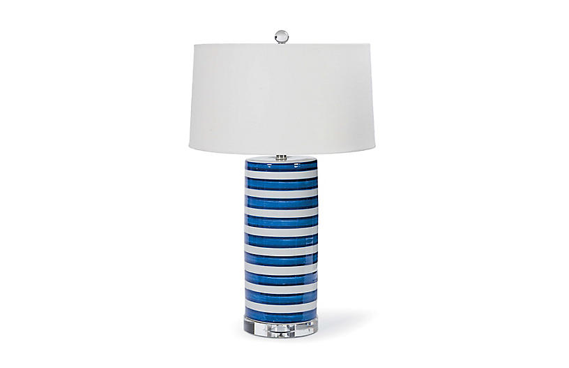 Striped Column Lamp, Hand Dipped Ceramic