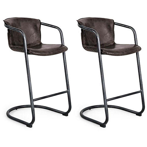 S/2 Axl Barstools, Distressed Whiskey Leather
