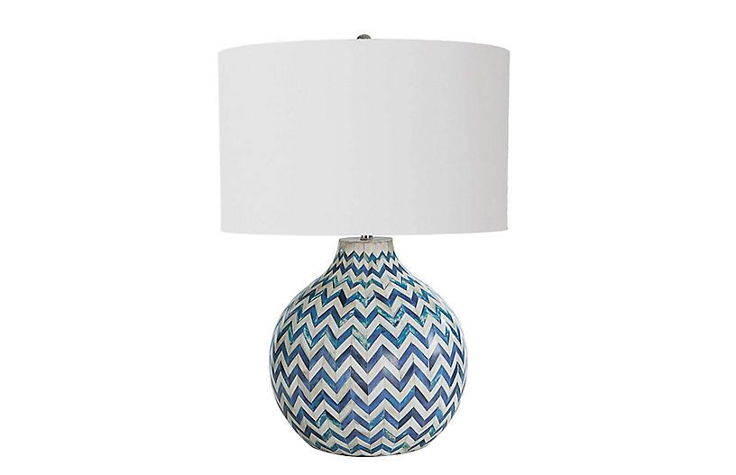 Chevron Bone Table Lamp, Indigo