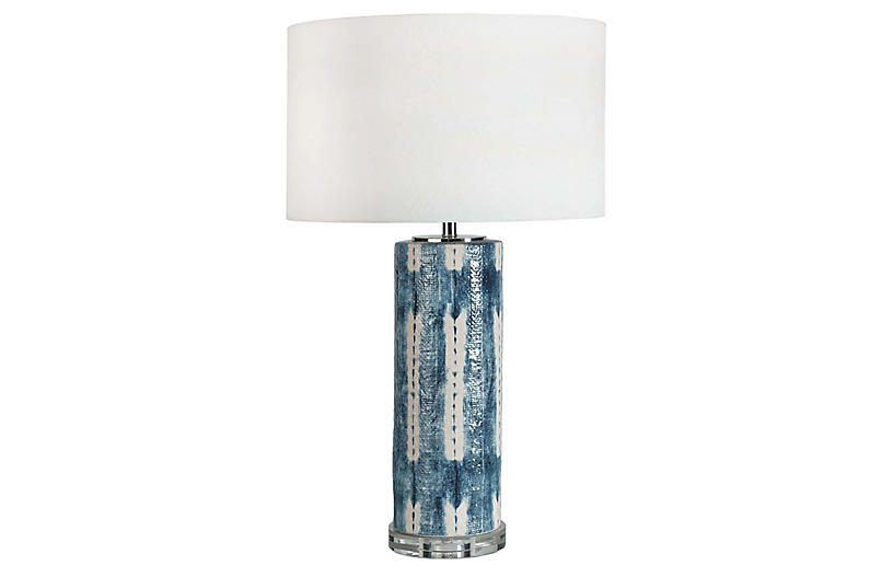 Mali Ceramic Table Lamp, Indigo