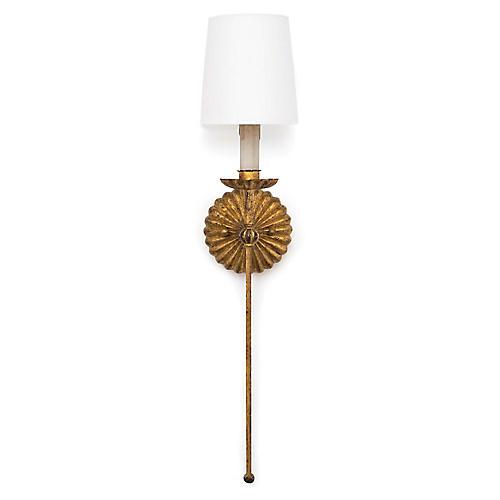 Clove Single Sconce, Antiqued Gold Leaf
