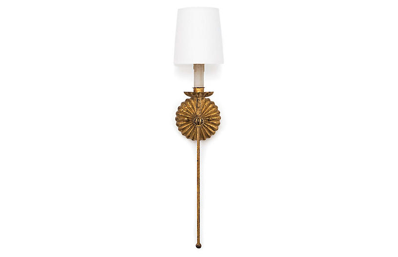 Clove Single Sconce, Antiqued Gold Leaf