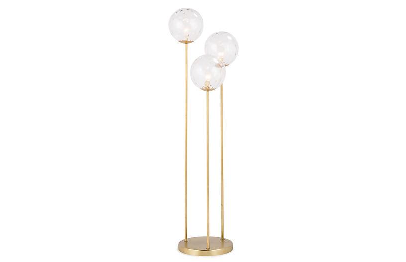 Rio Triple Floor Lamp, Clear/Natural Brass