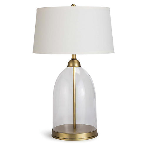 Glass Dome Table Lamp, Clear/Brass