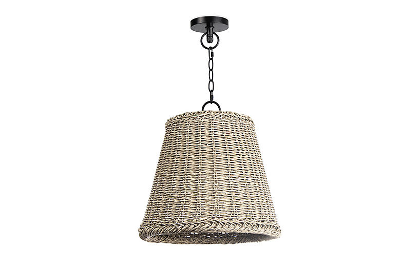 Coastal Living Augustine Small Outdoor Pendant, Weathered White