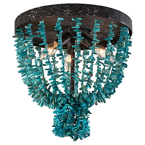 Beaded Flush Mount, Turquoise