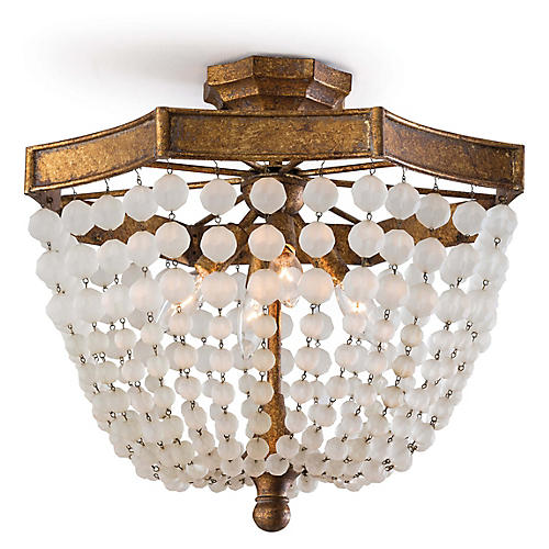 Crystal Bead Semi-Flush Mount, Antique Gold