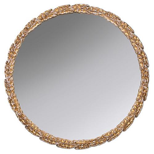 Olive Branch Wall Mirror, Gold Leaf