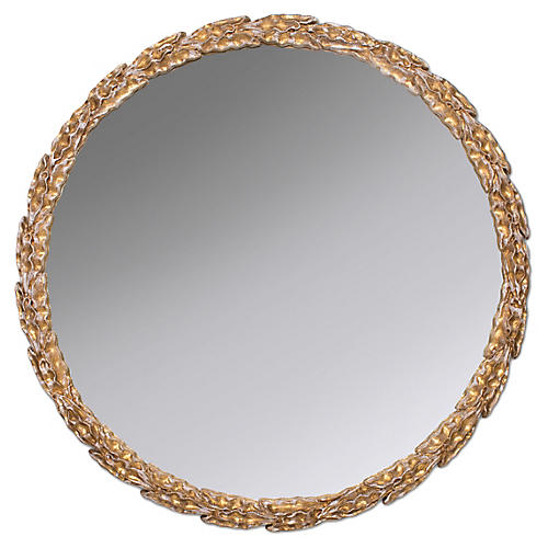 Olive Branch Wall Mirror, Gold Leaf