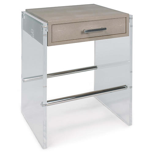 Lucite Faux-Shagreen Nightstand, Ivory