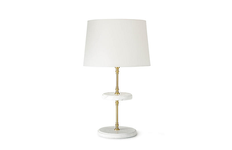 Bistro Table Lamp, Natural Brass