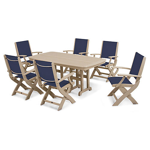 Coastal 7-Pc Dining Set, Navy