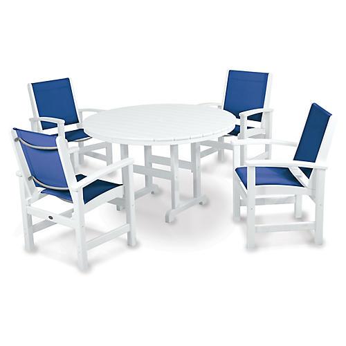Coastal 5-Pc Round Dining Set, Blue/White