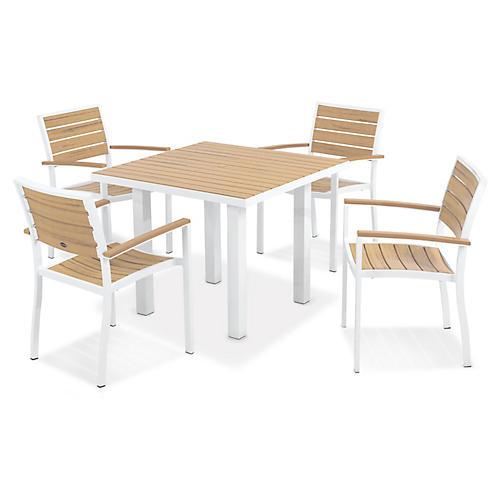 Euro 5-Pc Square Dining Set, Satin White