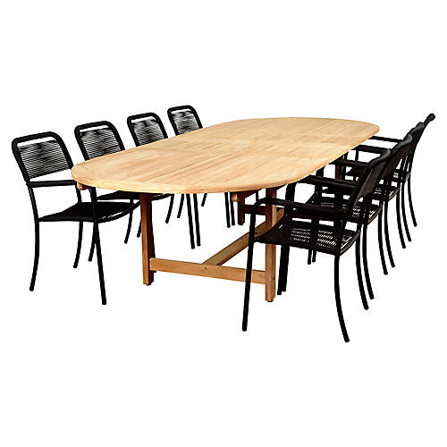 Oosterdam 9-Pc Extension Dining Set, Natural/Black