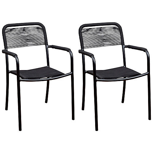 S/4 Oosterdam Armchairs, Black