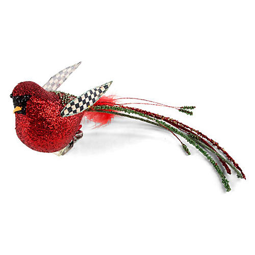 Beaded Cardinal Clip Ornament, Red