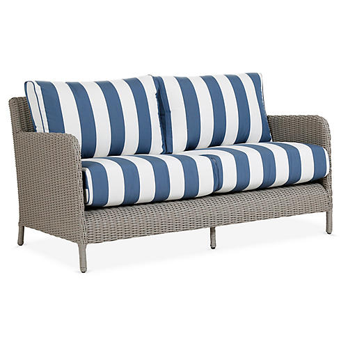 Manhattan Loveseat, Blue/White