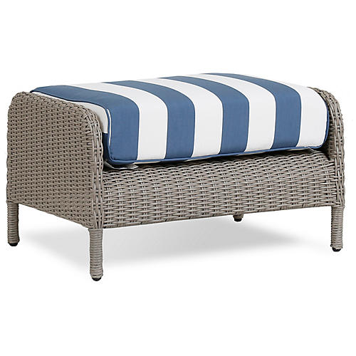 Manhattan Ottoman, Blue/White