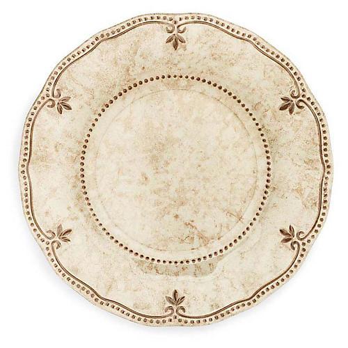 S/4 Rustica Melamine Dinner Plates, Bone White