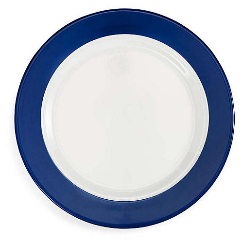 S/4 Bistro Melamine Dinner Plates, Blue/White