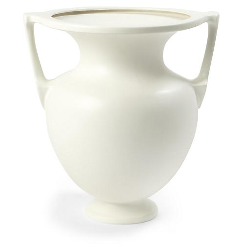 "16"" Grecian Amphora Vase, White"