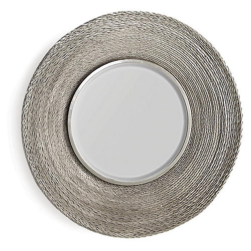 Twisted Large Wall Mirror, Nickel