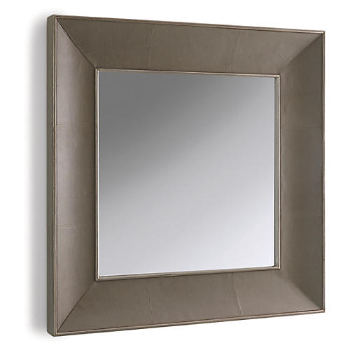 Churchill Oversize Leather Wall Mirror, Gray