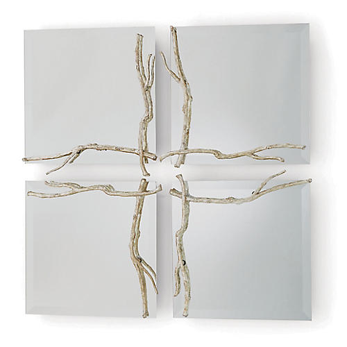 Twig Accent Mirror, Silver Leaf