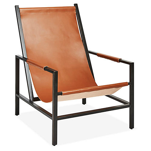 Wright Sling Chair, Gunmetal/Brown Sugar Leather