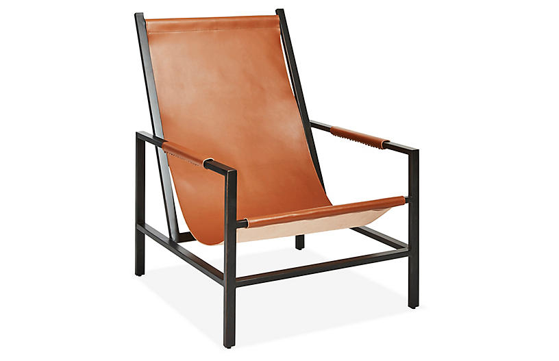 Outstanding Wright Sling Chair Gunmetal Brown Sugar Leather Cjindustries Chair Design For Home Cjindustriesco