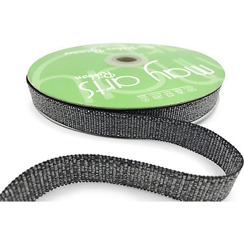 Sparkle Grosgrain Ribbon, Black/Silver