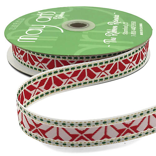 """1"""" Holiday Embroidery Ribbon, Red/Silver"""